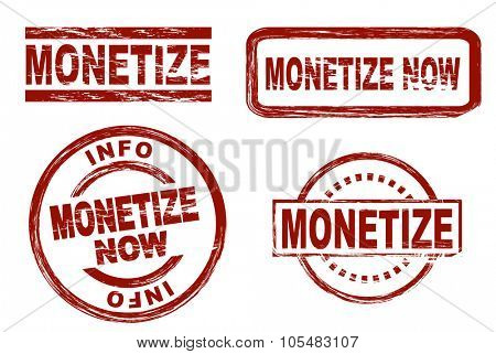 Set of stylized red stamps showing the term monetize. All on white background.