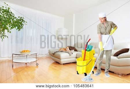 Maid woman with mop. House cleaning service concept.