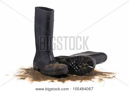 Muddy Rubber Fallen Boots 3/4 View Isolated On White Background