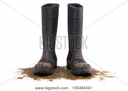 Muddy Rubber Boots Front View
