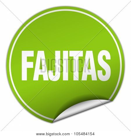 Fajitas Round Green Sticker Isolated On White