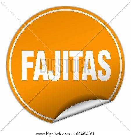 Fajitas Round Orange Sticker Isolated On White