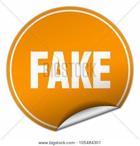Fake Round Orange Sticker Isolated On White