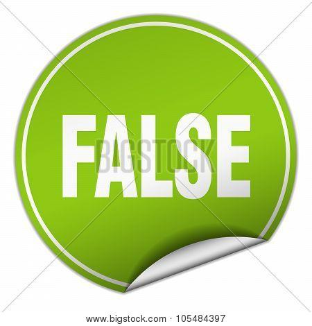 False Round Green Sticker Isolated On White