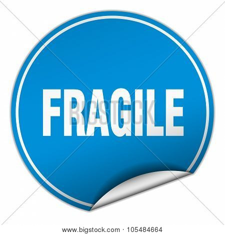 Fragile Round Blue Sticker Isolated On White