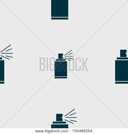 Graffiti Spray Can Sign Icon. Aerosol Paint Symbol. Seamless Abstract Background