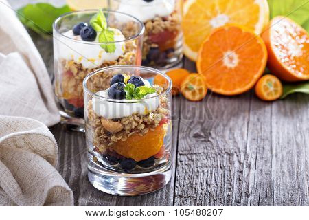 Granola breakfast parfait with citrus
