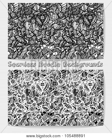 Hand drawn cartoon black and white doodle seamless pattern.