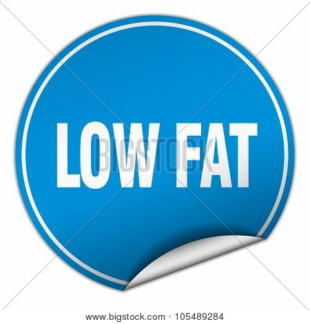 Low Fat Round Blue Sticker Isolated On White