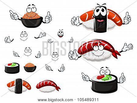 Nigiri sushi, red caviar and sushi roll