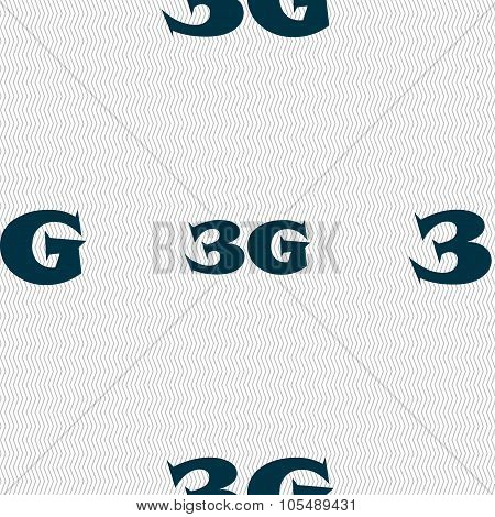 3G Sign Icon. Mobile Telecommunications Technology Symbol. Seamless Abstract Background With