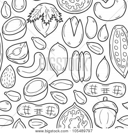 Seamless hand drawn nuts background