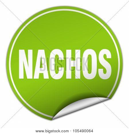 Nachos Round Green Sticker Isolated On White