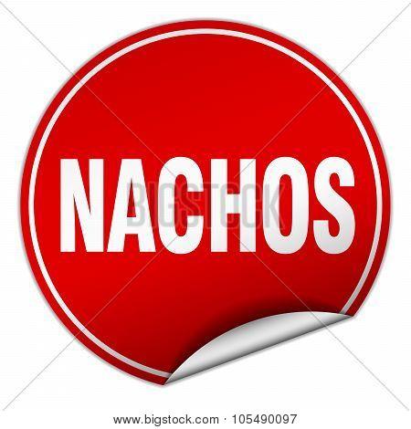 Nachos Round Red Sticker Isolated On White