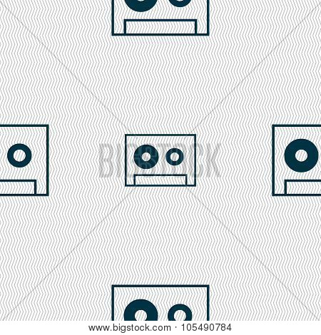 Cassette Sign Icon. Audiocassette Symbol. Seamless Abstract Background With Geometric