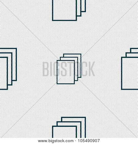 Copy File Sign Icon. Duplicate Document Symbol. Seamless Abstract Background With Geometric