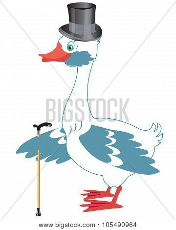 Bird goose in hat and with walking stick