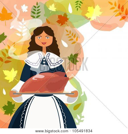 Beautiful young girl dressed as a pilgrim, serving hot cooked chicken on autumn leaves decorated colorful background for Happy Thanksgiving Day celebration.