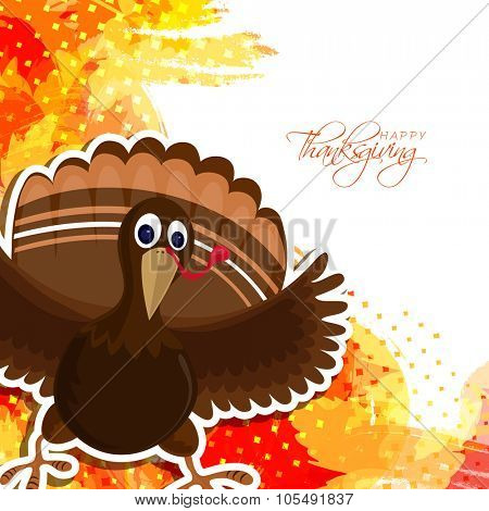 Cute Turkey Bird on abstract colorful background for Happy Thanksgiving Day celebration.