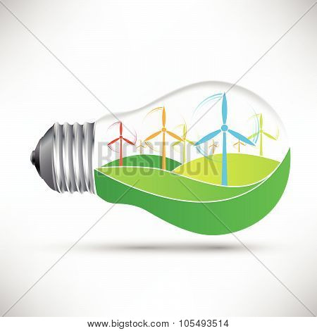 Environmentally Friendly Light Bulb With Windmills Idea Vector