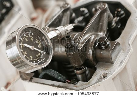 Technician performs adjusting Rocker arm of exhaust valve and intake valve, Pressure tested