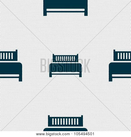 Hotel, Bed Icon Sign. Seamless Abstract Background With Geometric Shapes.