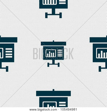 Graph Icon Sign. Seamless Abstract Background With Geometric Shapes.
