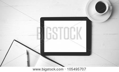 Tablet With Notebook And Coffee Cup Black And White Color Style