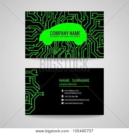 Business card - Green car and Electronic Printed circuit board on black background