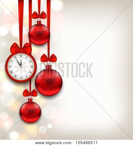 New Year Shimmering Background with Clock and Glass Balls