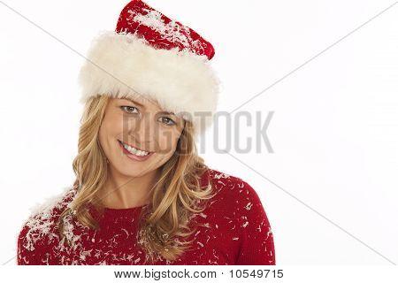 Portrait of woman in Santa hat