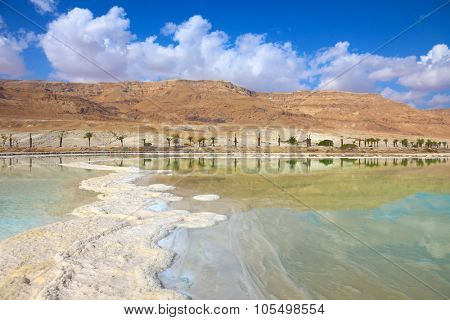 Israeli coast of the Dead Sea. The path from salt picturesquely curls in salty water.