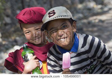 Tibetan Buddhist Young Children In Hemis Monastery, Ladakh, North India