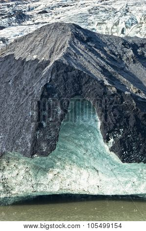Vatnajokull glacier detail covered with volcanic ash is melting