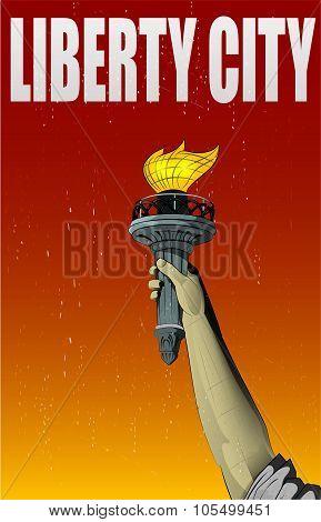 Illustration Of Liberty Lady Monument Hand