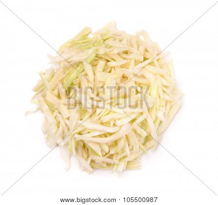 Top view of fresh shredded cabbage  isolated on white