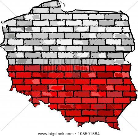 Poland Map On A Brick Wall.eps