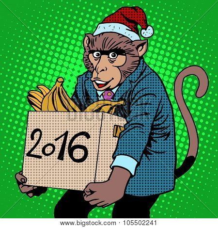 Monkey Santa Claus symbol new year 2016