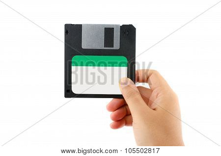 Floppy Disk  In Female Hand