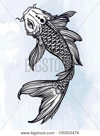 Elegant Koi carp fish illustration.