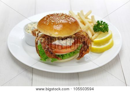 soft shell crab sandwich, spider sandwich