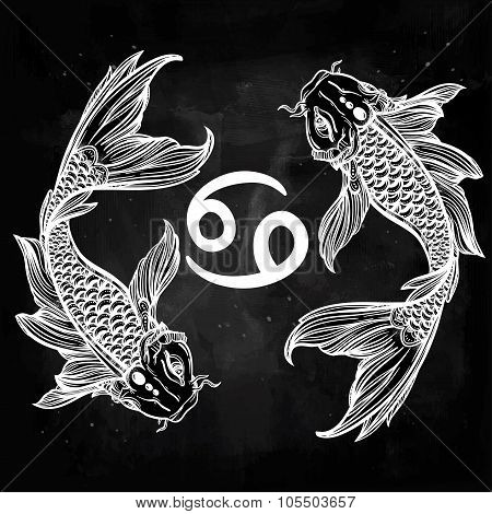 Beautiful line art of zodiac Pisces.