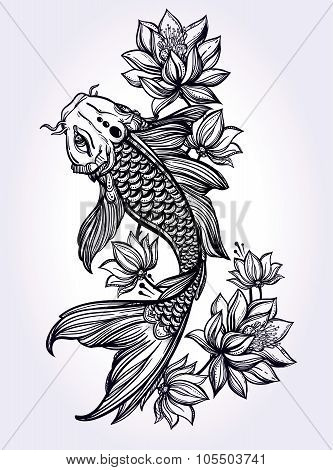 Hand drawn fish Koi carp with flowers.