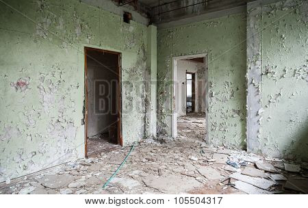 Abandoned Industrial Building Interior, Empty Room