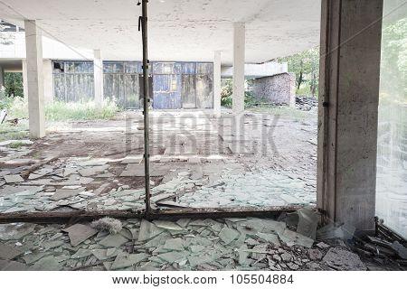 Concrete Interior With Broken Windows
