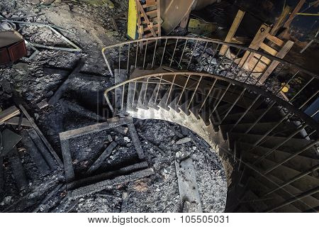 Old Rusty Spiral Stairway Going Down