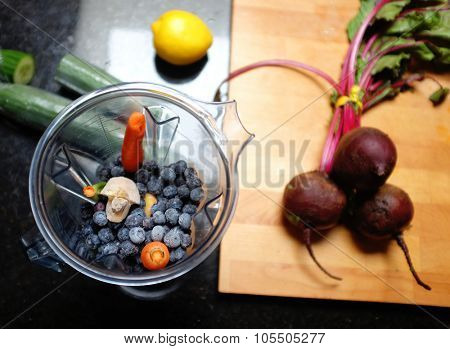 A healthy breakfast smootie with beets and berries