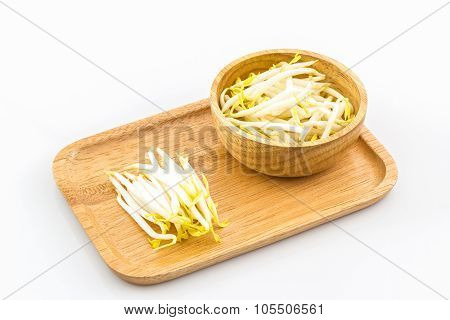 Bean Sprout In The In Wooden Plate.