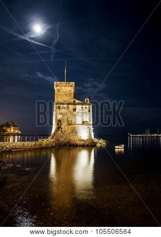 Rapallo Castle At Night With Moon In The Sky