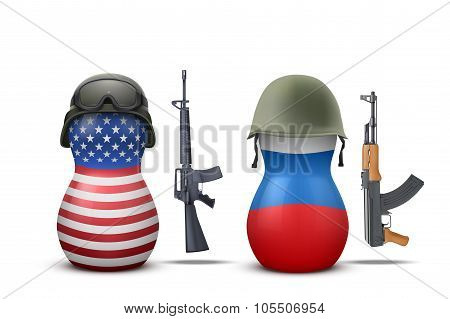 Russian and USA military dolls